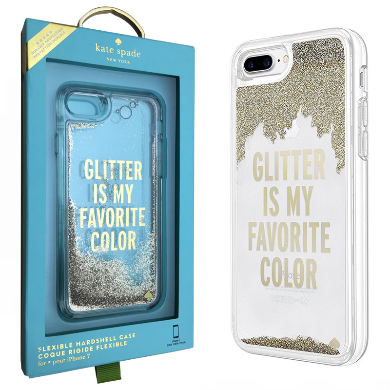 Чехол для iPhone 6 Plus / 6S Plus Kate Spade Clear Liquid Glitter Case (KSIPH-034-GLD)