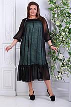 """Нарядное комбинированное платье-миди """"DURAN"""" с оборкой (большие размеры), фото 2"""