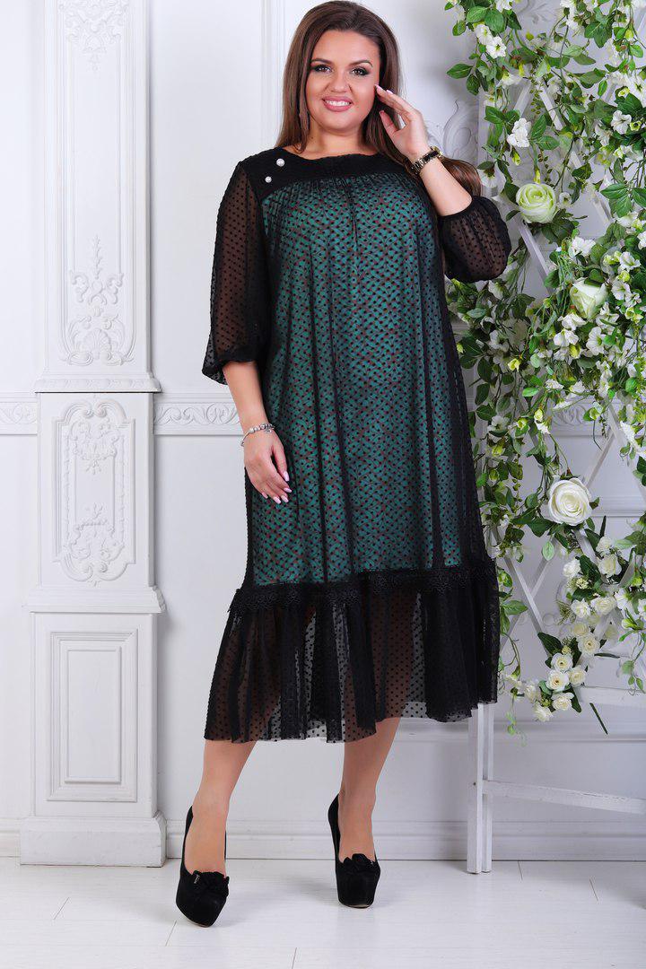 """Нарядное комбинированное платье-миди """"DURAN"""" с оборкой (большие размеры)"""