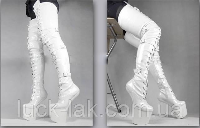 Очень высокие ботфорты ponypaly белые сапоги выше колена