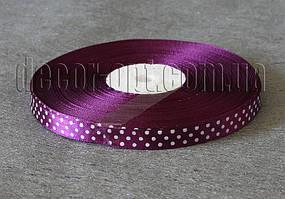 Лента атласная темно-фиолетовая с горохом 1 см 50 м