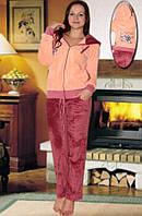 Махровый костюм (кофта и брюки) (Персиковый, бордовый)