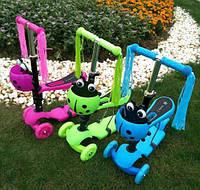 Самокат детский трехколесный с сидушкой беговел с выдвижным рулем.