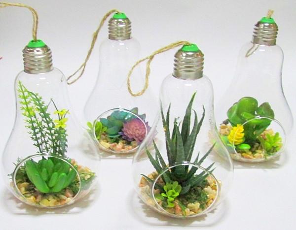 Флорариум с искусственными суккулентами 16*10 см, Лампочка