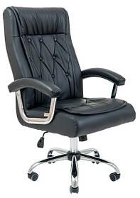 Кресло Телави хром, кожзам черный (Richman ТМ)