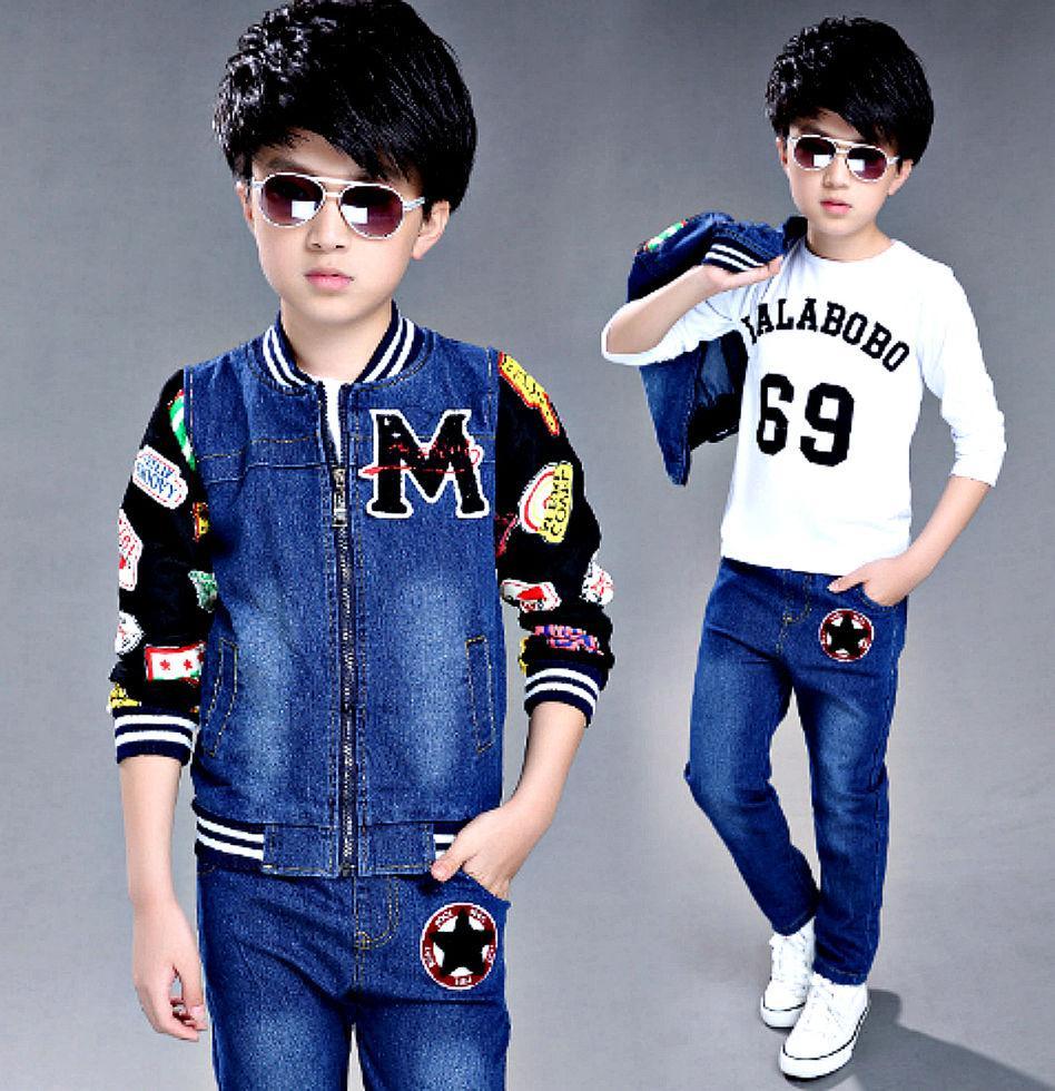 Детские джинсовые спортивные костюмы из 3 единиц в стиле