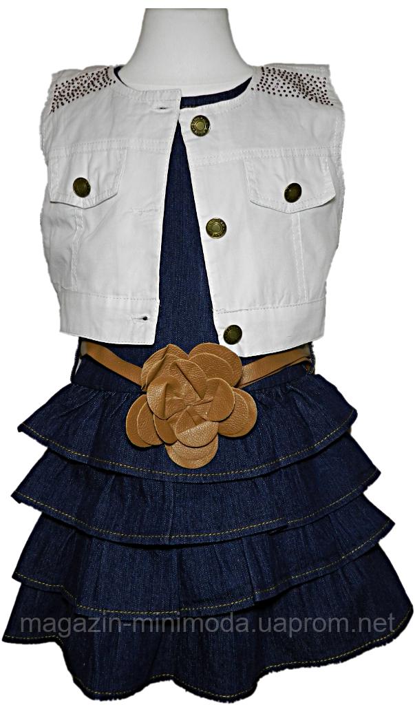 Джинсовое платье с поясом и жилеткой для девочки, , фото 1