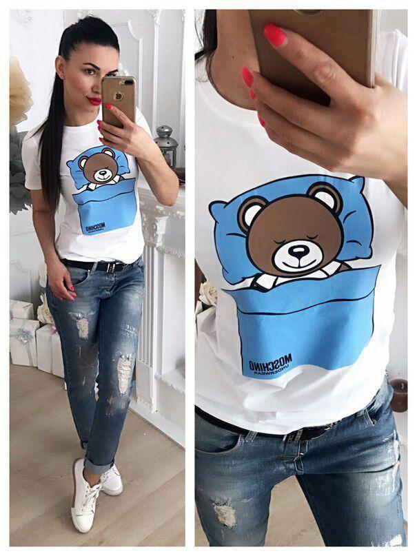 Модная футболка декорированная накатом в виде спящего мишки 42-46 р