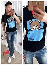 Модная футболка декорированная накатом в виде спящего мишки 42-46 р, фото 3