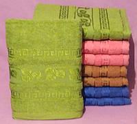 Махровое Банное полотенце  с узором салатовое подарок семье оптом  (140 Х 70см)