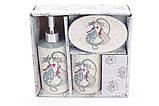 Набор для ванной керамический с объемным рисунком Влюбленные коты, фото 2