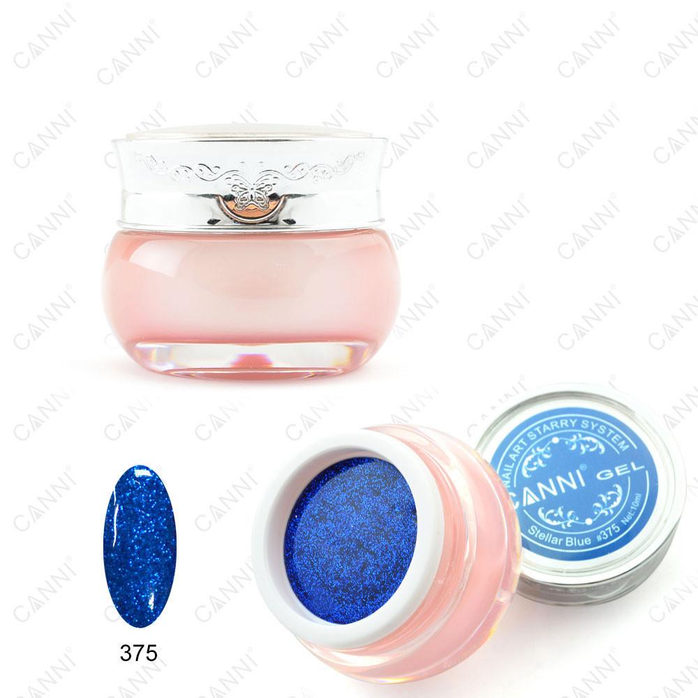 """Canni Starry gel   Глиттерный гель """"Звездная пыль"""" 375 синий глубокий 3D 10ml"""