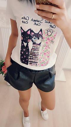Хлопковая футболка с аппликацией в виде котят с пайетками 42-46 р, фото 2
