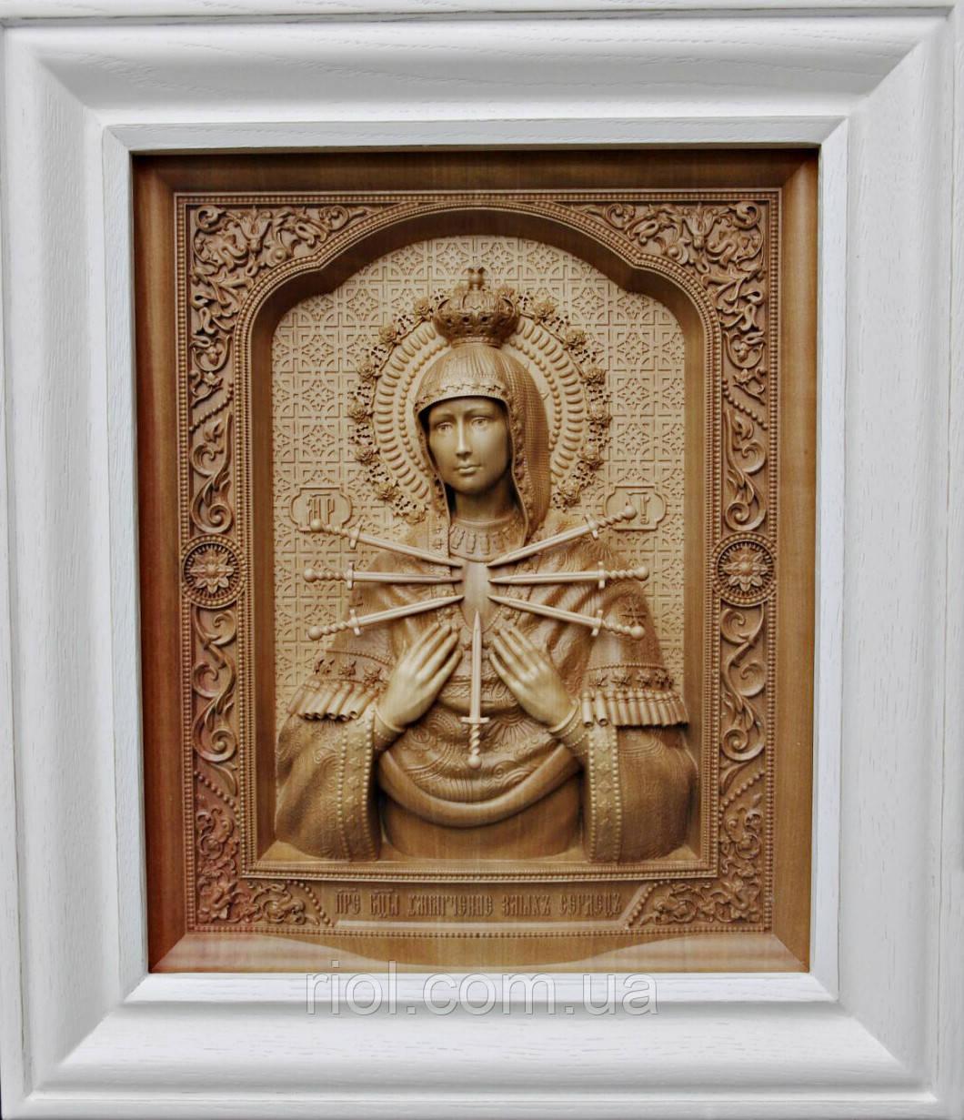 Семистрельная ікона Божої Матері різьблена дерев'яна (бук)