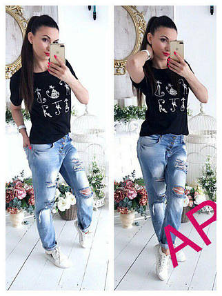 Женская футболка с вышивкой в виде котов с жемчужинами 42-46 р, фото 2