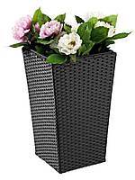 Напольный садовый горшок - вазон для цветов черный  (искусственный ротанг) высота 50 см