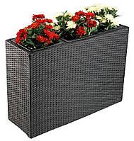 Напольный большой садовый горшок для растений черный (искуственный ротанг)