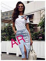 Стильная футболка с аппликацией из пайеток в виде цветов 42-46 р, фото 3