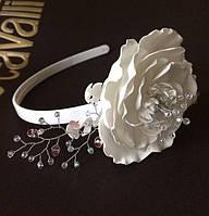 Ободок для волос белая роза