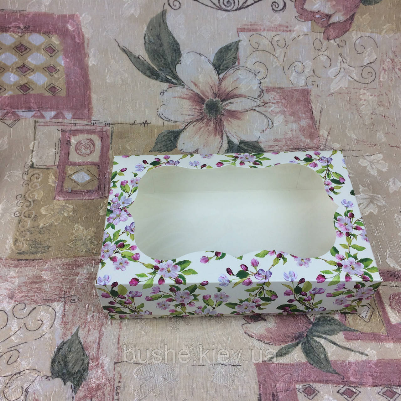 Коробка под зефир / *h=6* / 230х150х60 мм / печать-Весна / окно-обычн / лк / цв