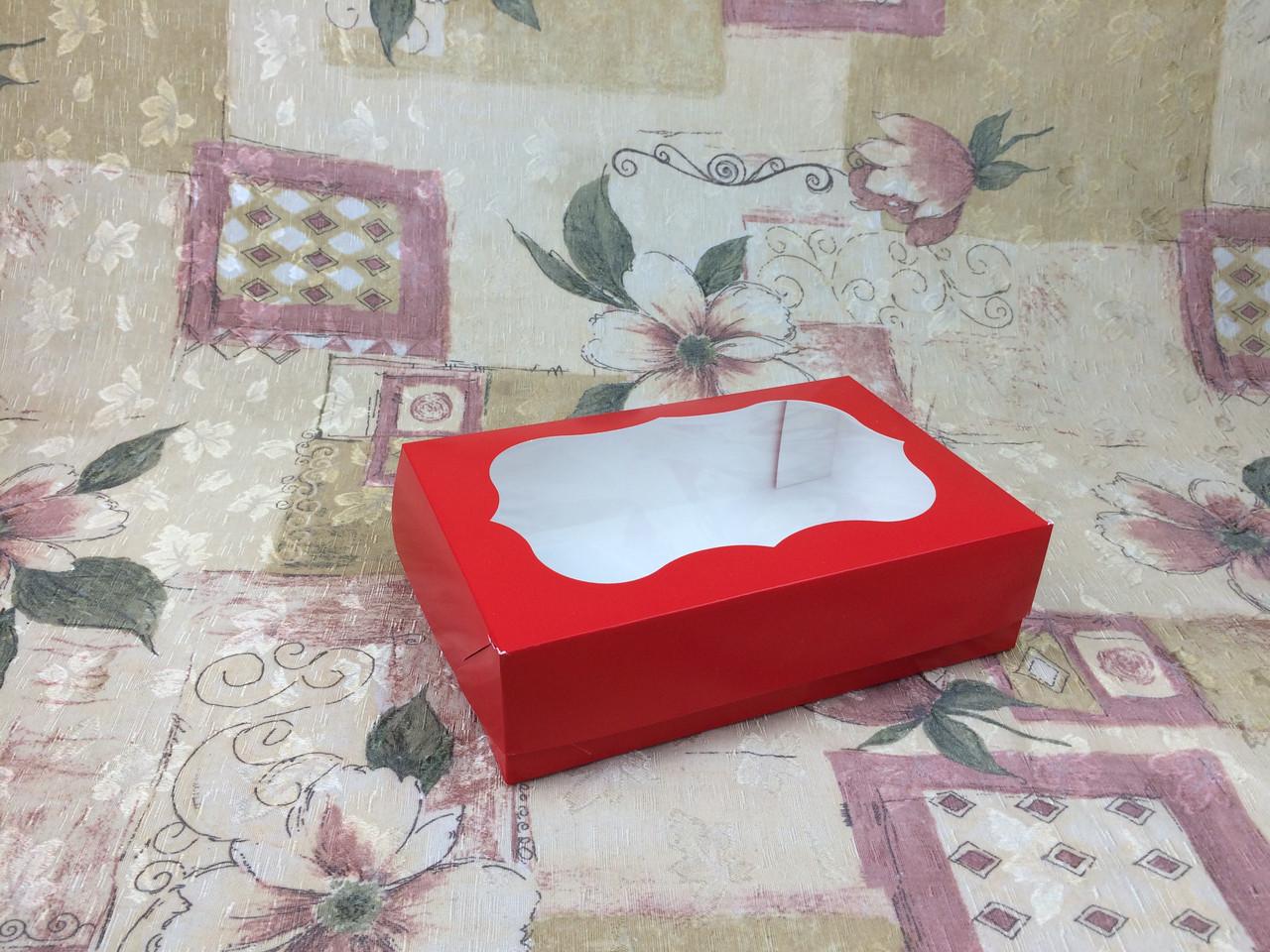 Коробка под зефир / *h=6* / 230х150х60 мм / печать-Красн / окно-обычн