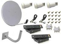 Комплект спутникового ТВ (на 2 ТВ) с HD тюнерами  (3 головки), фото 1