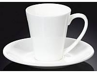Чашка для кофе с блюдцем 160мл. белая фарфоровая Wilmax wl-993005