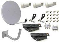 Комплект спутникового ТВ (на 2 ТВ) с HD тюнерами  (3 головки)