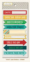 Наклейки My Mind's Eye - Collectable - Remarkable - Smile Label Stickers, CTB163