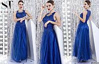 Красивое женское платье в пол/гипюр,сетка, атлас, фатин/