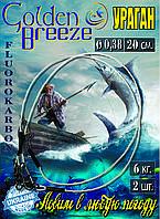 """Поводки флюорокарбон """"Golden Breeze""""  серия """"Ураган"""" (2шт) Ø - 0,38 мм, длина 20 см."""