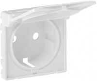 Лицевая панель для розетки 2К+З с крышкой Valena Life Legrand, цвет белый