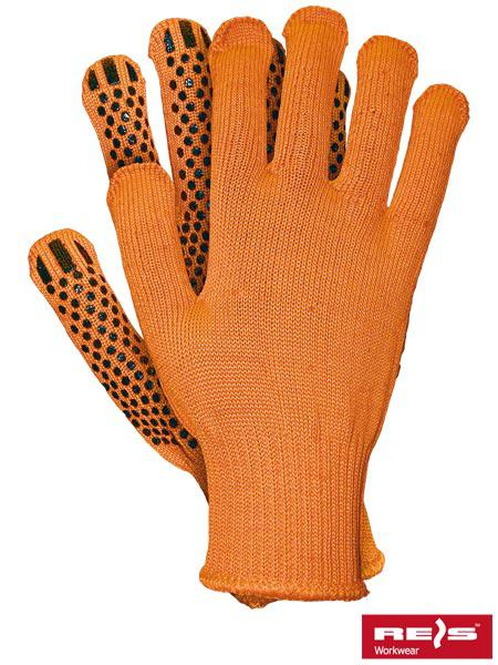 Перчатки трикотажные SIZ с ПВХ точкой RT1249-4-OR, оранжевого цвета, р.10