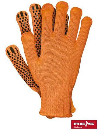 Перчатки трикотажные SIZ с ПВХ точкой RT1249-4-OR, оранжевого цвета, р.10, фото 2
