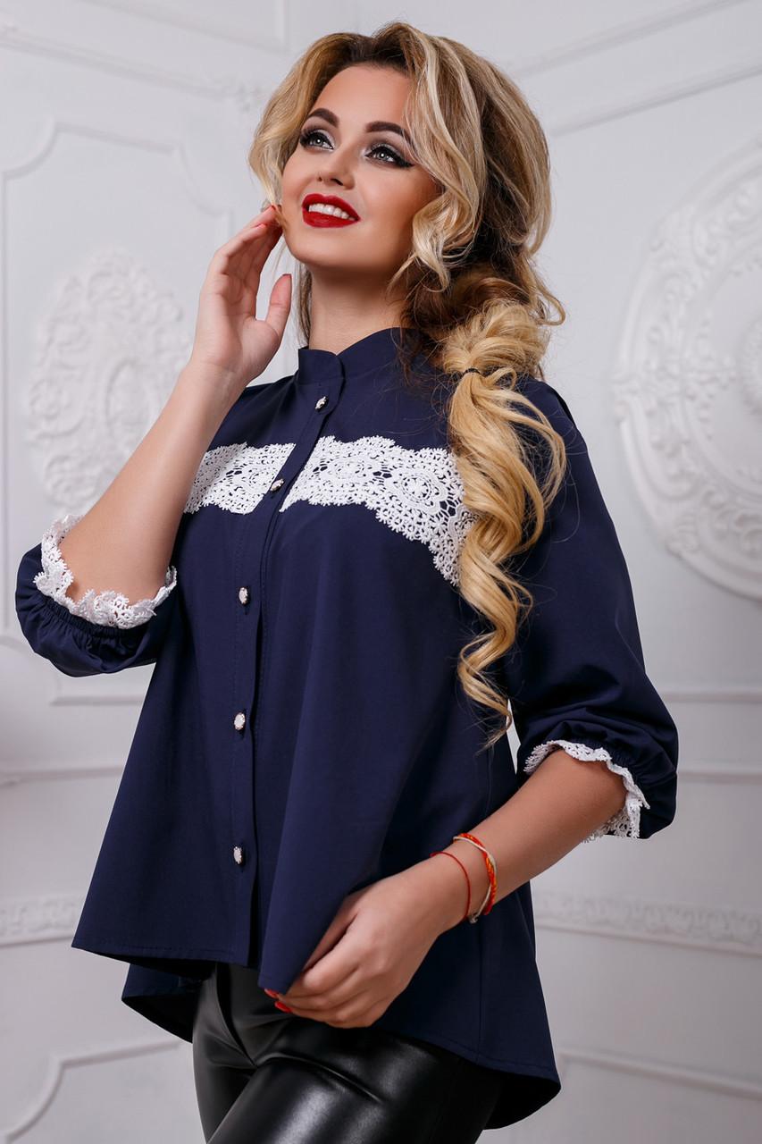 Красивая женская блуза PREMIUM 2586 темно-синий
