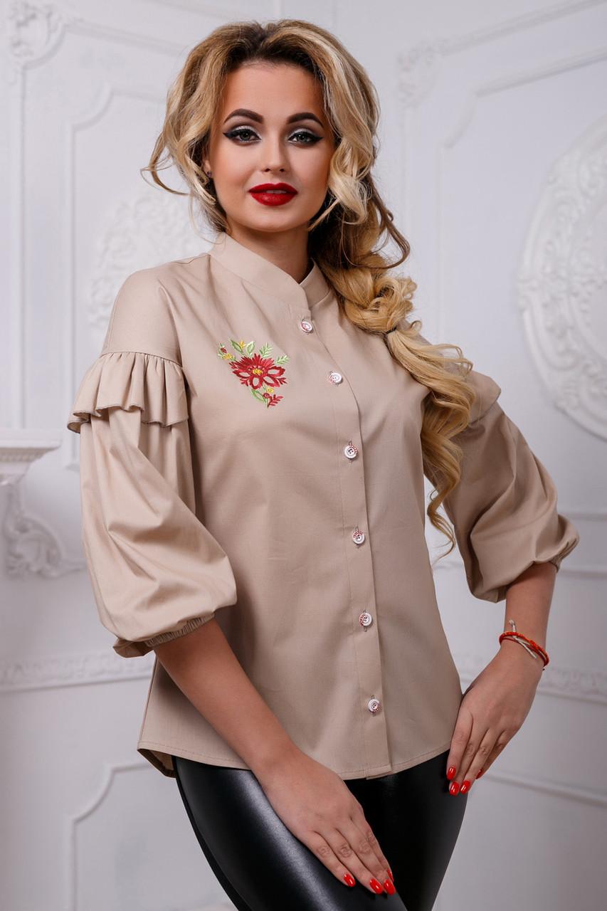 Красивая женская блуза PREMIUM 2584 кофейный