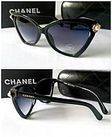 Женские солнцезащитные очки черные Chanel жемчуг цветочки