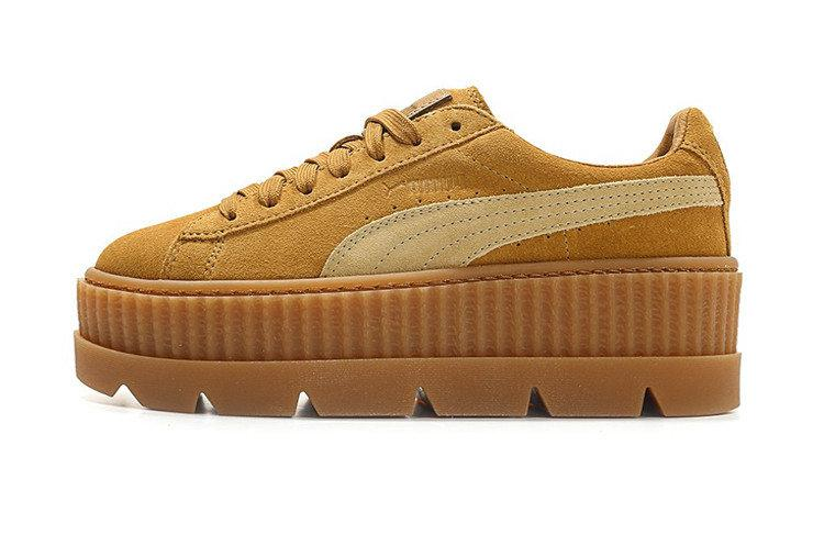16bc1319f35da3 Женские кроссовки Rihanna x PUMA Fenty CLEATED CREEPER SUEDE Golden Brown