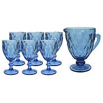 Набор бокалов на 6 персон Изумруд синий ( 6 бокалов по 300 мл и кувшин ), фото 2