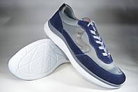 Мужские мужские кроссовки кожаные на  шнурках mida 110550син серые   весенние , фото 1