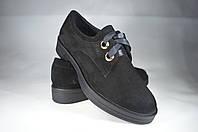 Женские женские кожаные туфли mida 21802вел.ч черные   весенние , фото 1