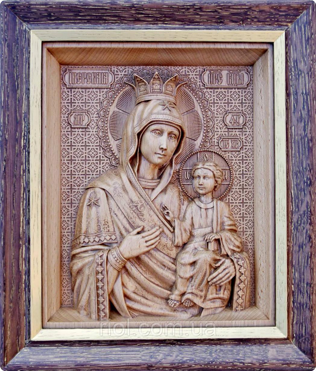 Иверская икона Божией Матери резная из бука