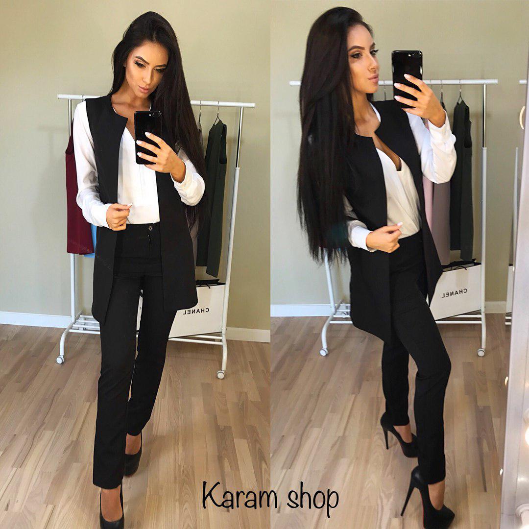Женский классический костюм брюки и жилетка