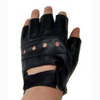Перчатки кожаные атлетические без пальцев (р-р S-XL)