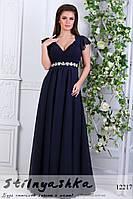 Платье в греческом стиле Афродита темно-синее