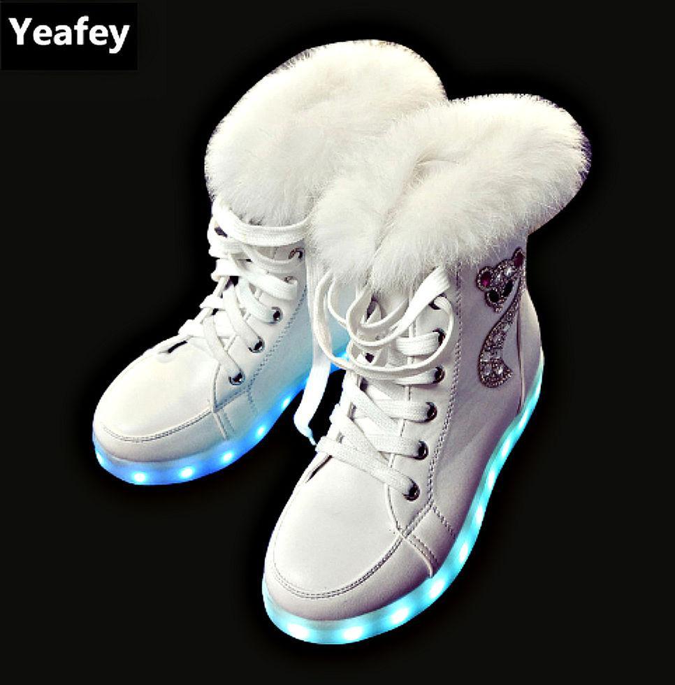 Зимняя светящаяся обувь-(Yeafey) с мехом./зарядка через USB/