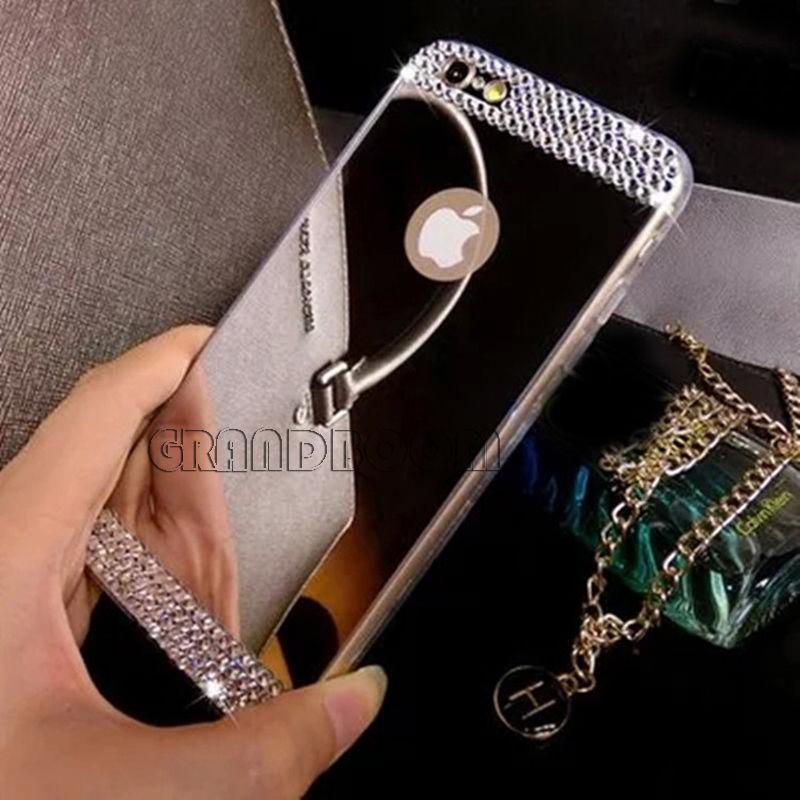 Алмазный горный хрустальгальваническое зеркало ТПУ силиконовый чехол для iPhone 7 Plus 6 6 s 5 5S Samsung s7Edge S6