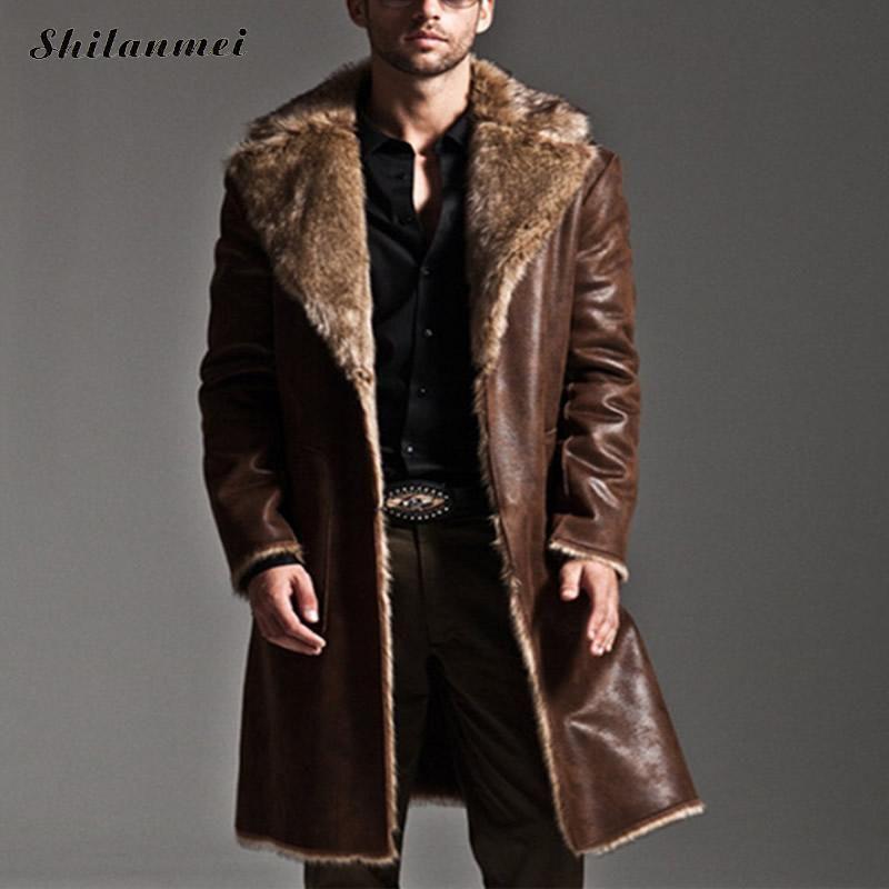 Водонепроницаемая, длинная кожаная куртка на меху.
