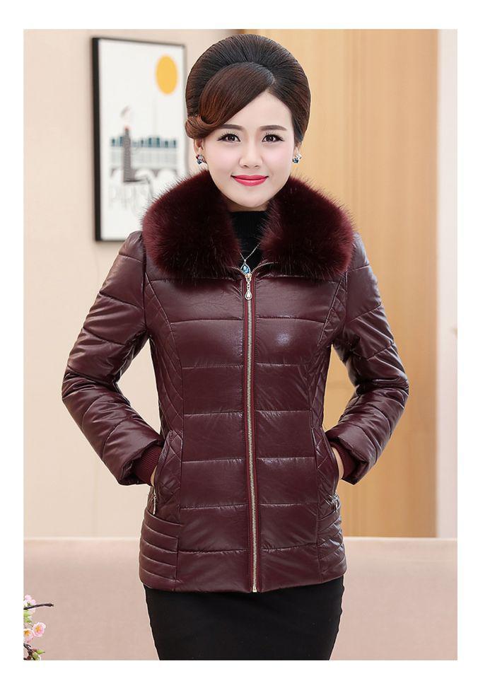 Зимняя куртка для женщин с меховым воротником с искусственной кожи