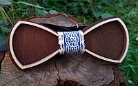 Деревянная бабочка галстук Ободок Синий ручной работы, серия Fantasy